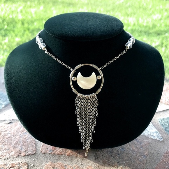 Silverskylight Jewelry - Genuine mother of pearl moon & crystal necklace